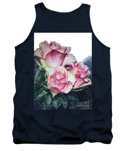 Watercolor Of A Bouquet Of Pink Roses I Call Rose Michelangelo Tank Top