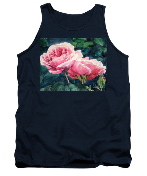 Watercolor Of Two Luscious Pink Roses Tank Top