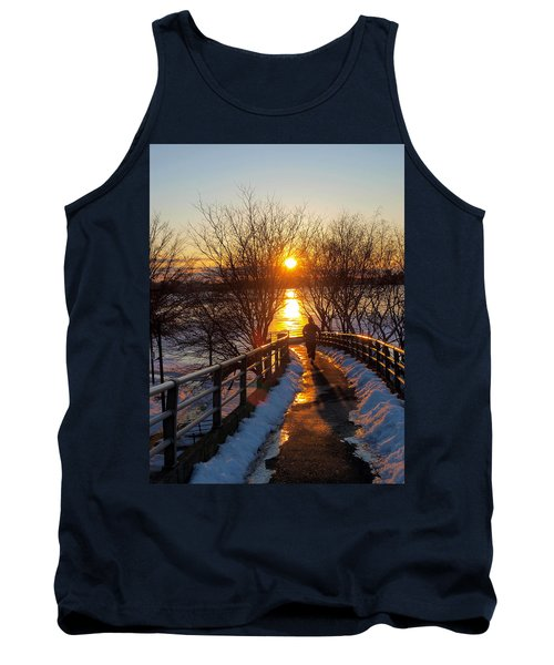 Running In Sunset Tank Top by Paul Ge