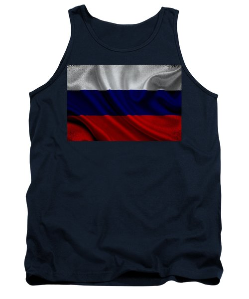 Russian Flag Waving On Canvas Tank Top