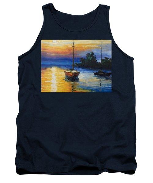 Sailboat At Sunset Tank Top