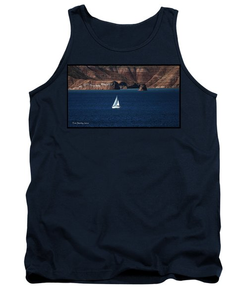 Tank Top featuring the photograph Sailing At Roosevelt Lake On The Blue Water by Tom Janca