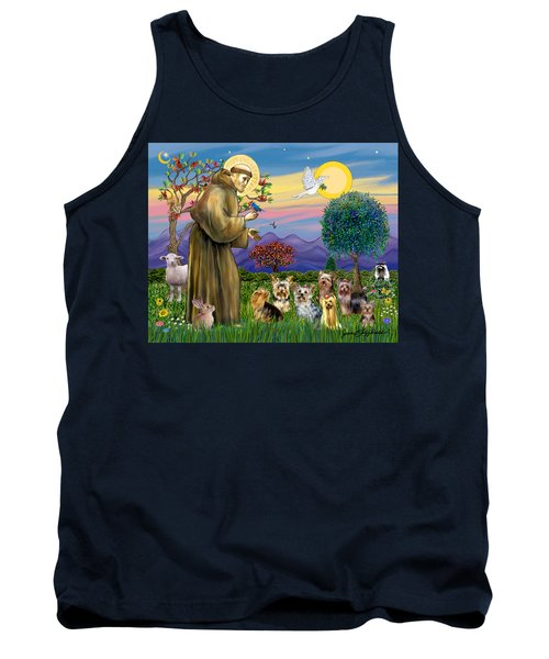 Saint Francis Blesses Seven Yorkies Tank Top