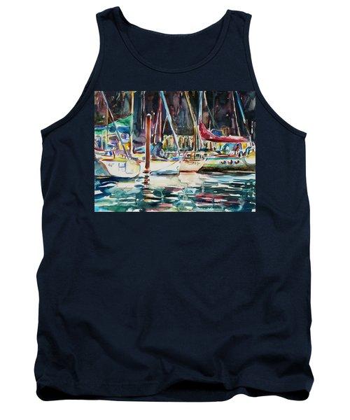 Tank Top featuring the painting Santa Cruz Dock by Xueling Zou