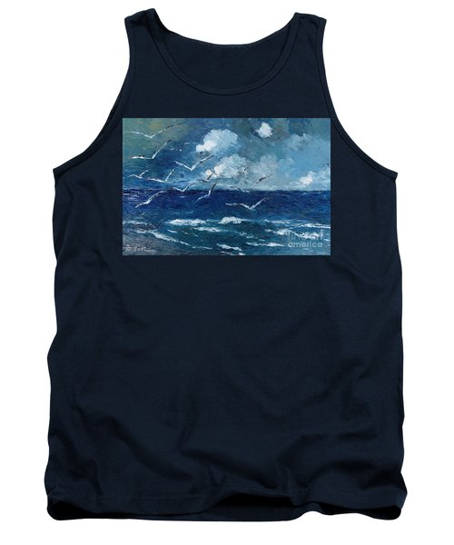 Tank Top featuring the painting Seagulls Over Adriatic Sea by AmaS Art