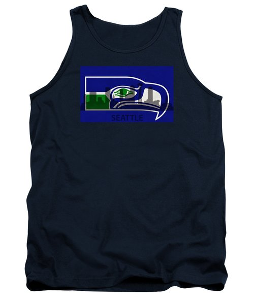 Seattle Seahawks On Seattle Skyline Tank Top by Dan Sproul