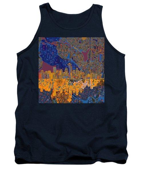 Seattle Skyline Abstract 4 Tank Top