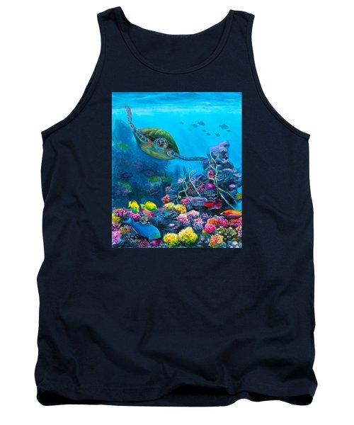 Secret Sanctuary - Hawaiian Green Sea Turtle And Reef Tank Top by Karen Whitworth