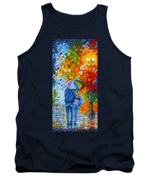 Tank Top featuring the painting Sharing Love On A Rainy Evening Original Palette Knife Painting by Georgeta Blanaru