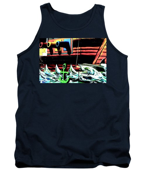 Tank Top featuring the photograph Shark And Pirate Ship Pop Art Posterized Photo by Marianne Dow