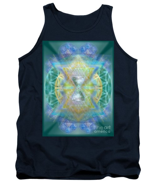 Tank Top featuring the digital art Silver Torquoise Chalicell Ring Flower Of Life Matrix by Christopher Pringer