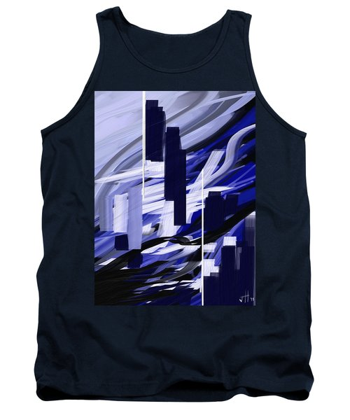 Tank Top featuring the painting Skyline Reflection On Water by Jennifer Hotai
