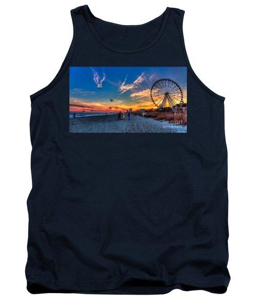 Skywheel Sunset At Myrtle Beach Tank Top by Robert Loe