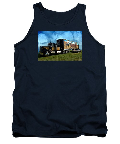 Tank Top featuring the photograph Smokey And The Bandit Tribute 1973 Kenworth W900 Black And Gold Semi Truck And The Bandit Transam by Tim McCullough
