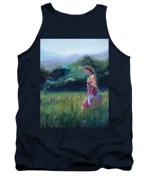 Tank Top featuring the painting Spring Stroll by Donna Tuten