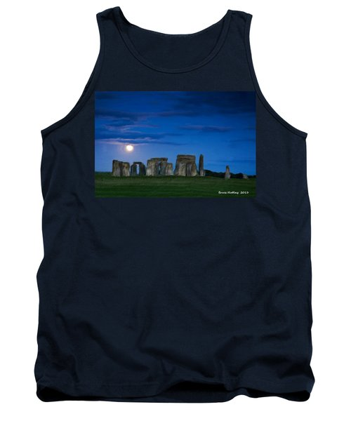 Tank Top featuring the painting Stonehenge At Night by Bruce Nutting