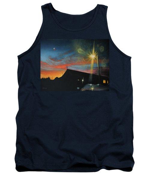 Suburban Sunset Oil On Canvas Tank Top