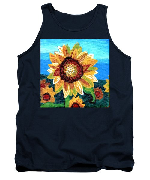 Sunflowers And Blue Sky Tank Top by Genevieve Esson