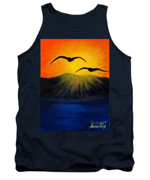 Tank Top featuring the painting Sunrise And Two Seagulls by Oksana Semenchenko