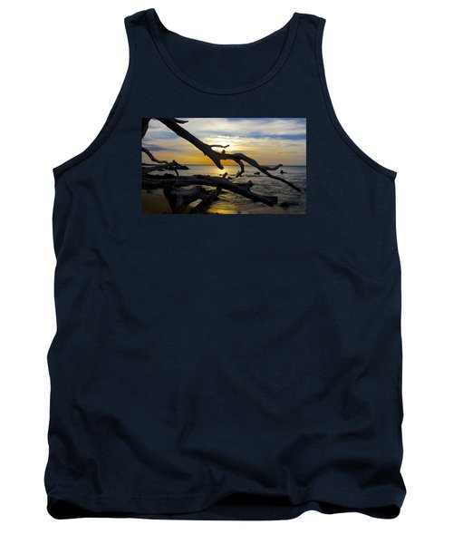 Driftwood At Sunset On Beach '69 Tank Top by Venetia Featherstone-Witty