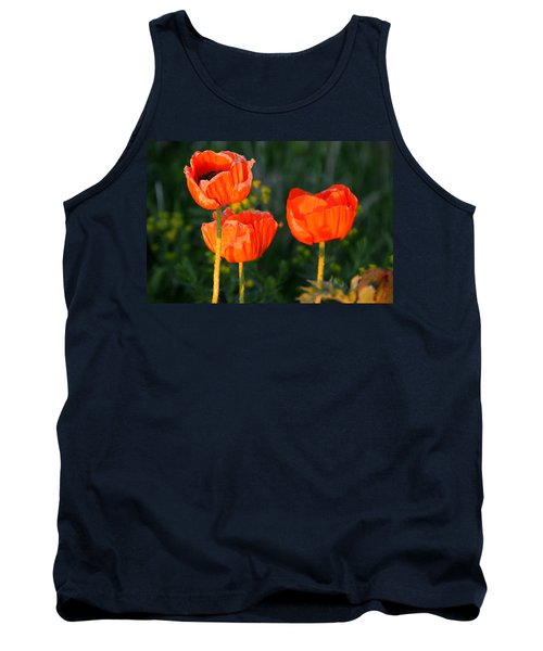 Sunset Poppies Tank Top by Debbie Oppermann
