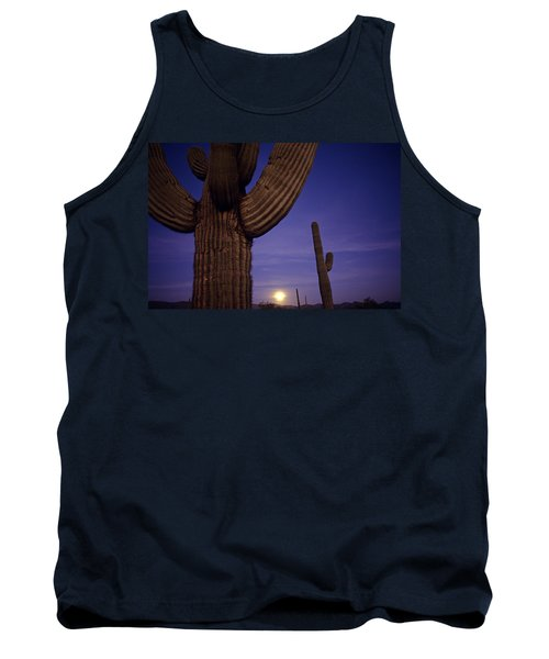 Sunset With Moonise Behind Saguaro Cactus In Desert Southwest Ar Tank Top