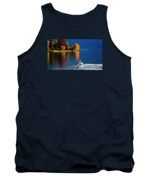 Beautiful Autumn Swan At Lake Schiliersee Germany  Tank Top