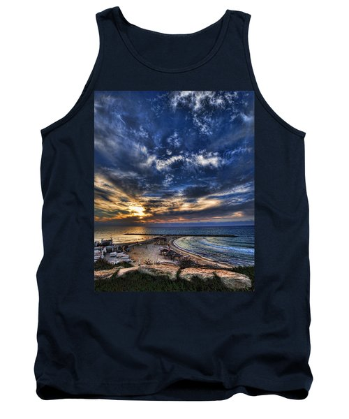 Tank Top featuring the photograph Tel Aviv Sunset At Hilton Beach by Ron Shoshani