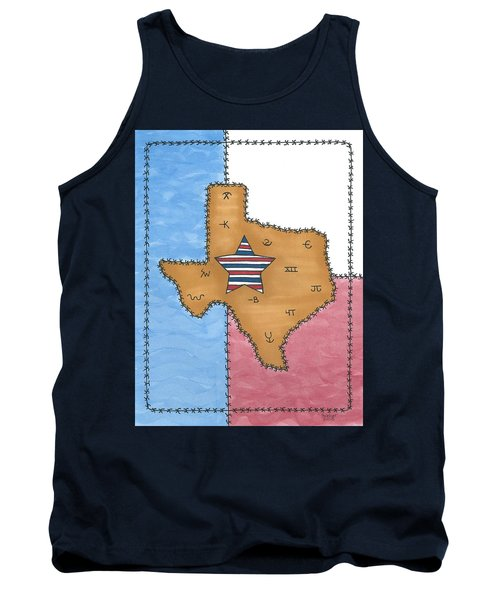 Tank Top featuring the painting Texas Tried And True Red White And Blue Star by Susie Weber