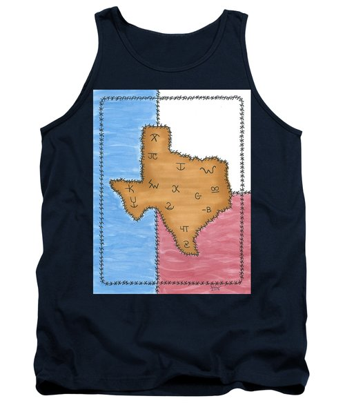 Tank Top featuring the painting Texas Tried And True Red White And Blue by Susie WEBER