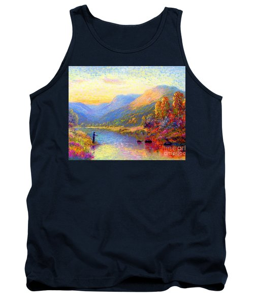 Tank Top featuring the painting Fishing And Dreaming by Jane Small