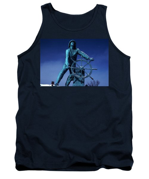 Tank Top featuring the photograph The Fisherman Statue Gloucester by Tom Wurl