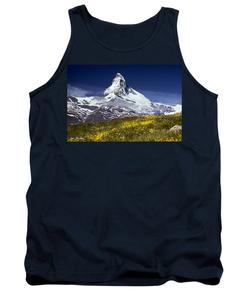 The Matterhorn With Alpine Meadow In Foreground Tank Top by Jeff Goulden