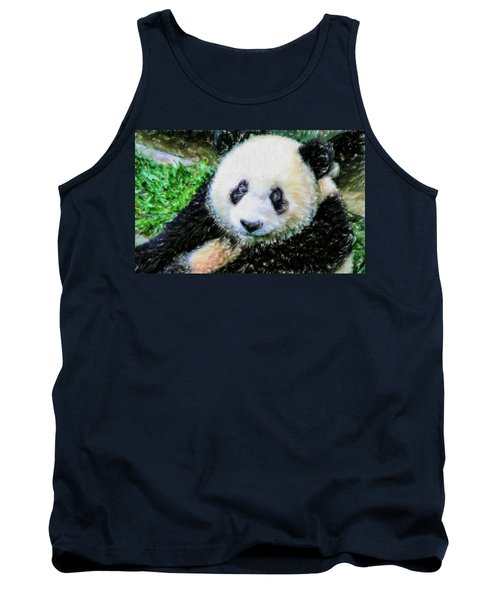 Tank Top featuring the painting Thinking Of David Panda by Lanjee Chee