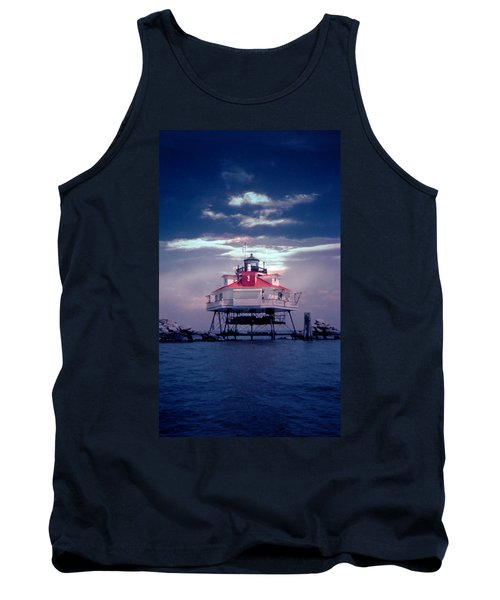 Thomas Point Shoal Lighthouse Tank Top by Skip Willits