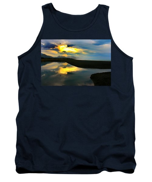 Tank Top featuring the photograph Tidal Pond Sunset New Zealand by Amanda Stadther