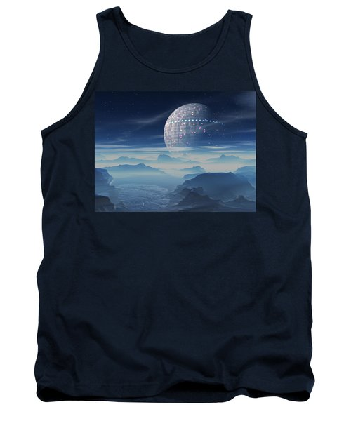 Tank Top featuring the digital art Tranus Alien Planet With Satellite by Judi Suni Hall