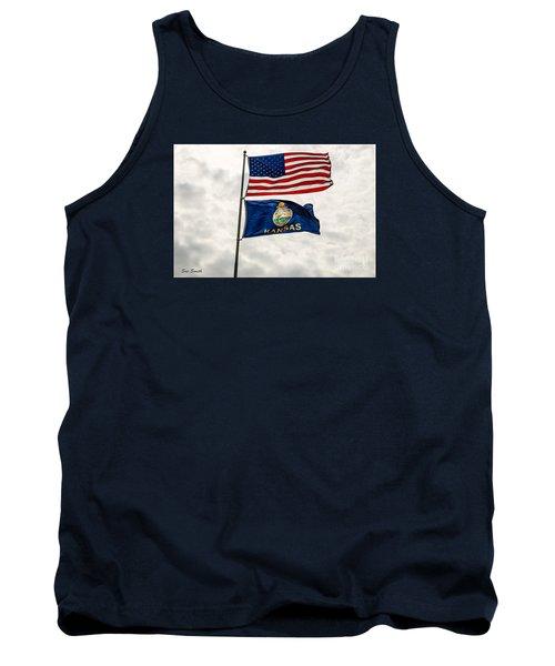 Us And Kansas Flags Tank Top