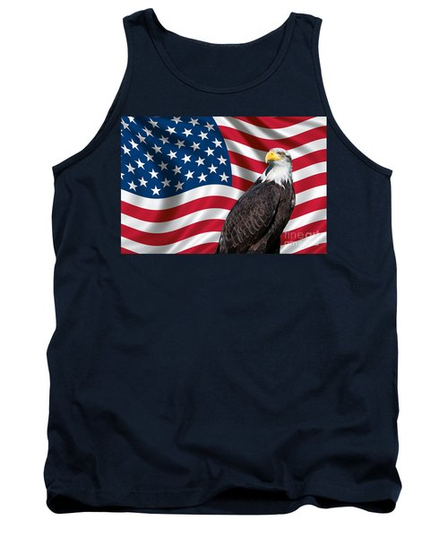 Tank Top featuring the photograph Usa Flag And Bald Eagle by Carsten Reisinger