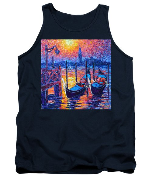 Venice Mysterious Light - Gondolas And San Giorgio Maggiore Seen From Plaza San Marco Tank Top
