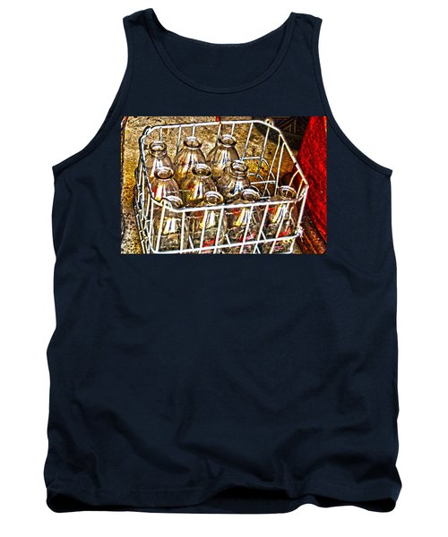 Tank Top featuring the photograph Vintage Milk Bottles In A Crate   by Lesa Fine