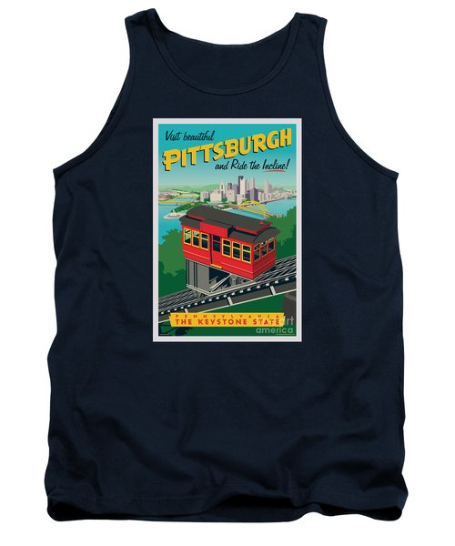 Vintage Style Pittsburgh Incline Travel Poster Tank Top by Jim Zahniser