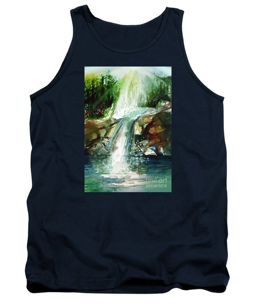 Tank Top featuring the painting Waterfall Expression by Allison Ashton