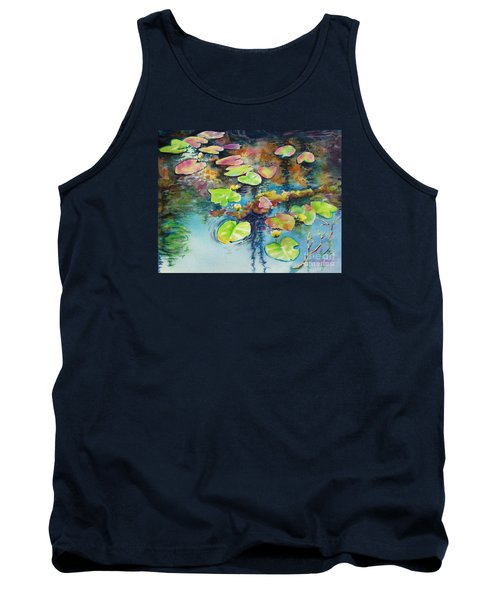 Tank Top featuring the painting Waterlilies In Shadow by Kathy Braud