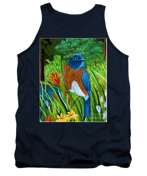 Tank Top featuring the painting Western Bluebird by Jennifer Lake