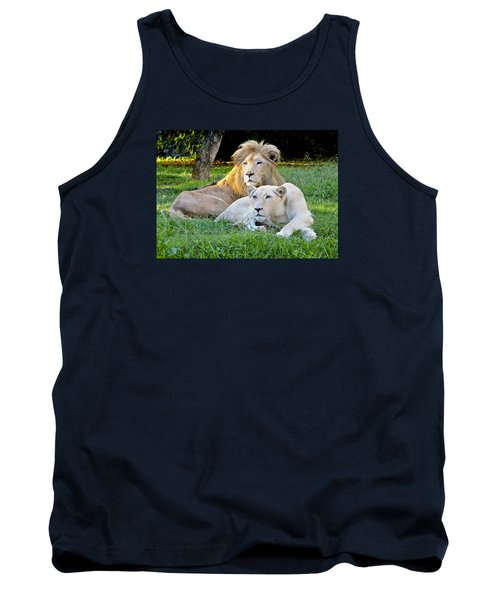 White Lion And Lioness Tank Top by Venetia Featherstone-Witty
