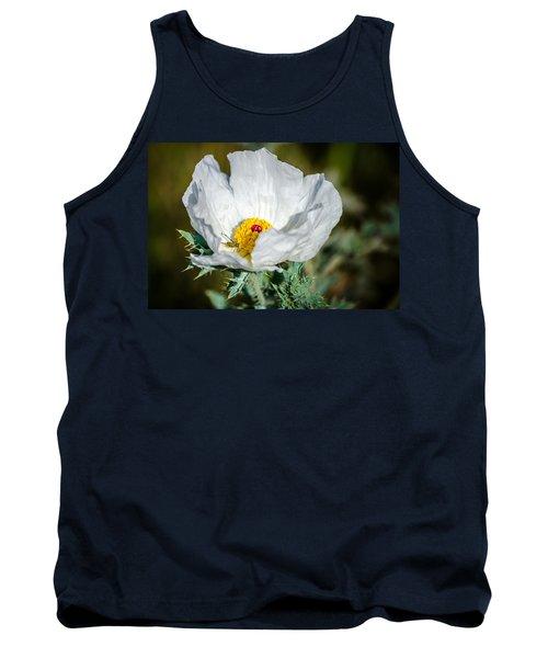 White Prickly Poppy Wildflower Tank Top by Debra Martz