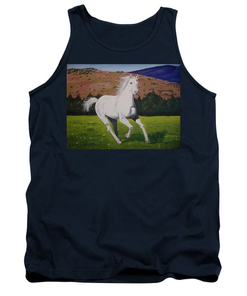Tank Top featuring the painting White Stallion by Norm Starks