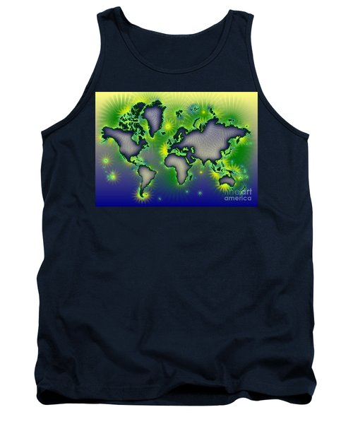 World Map Amuza In Blue Yellow And Green Tank Top by Eleven Corners