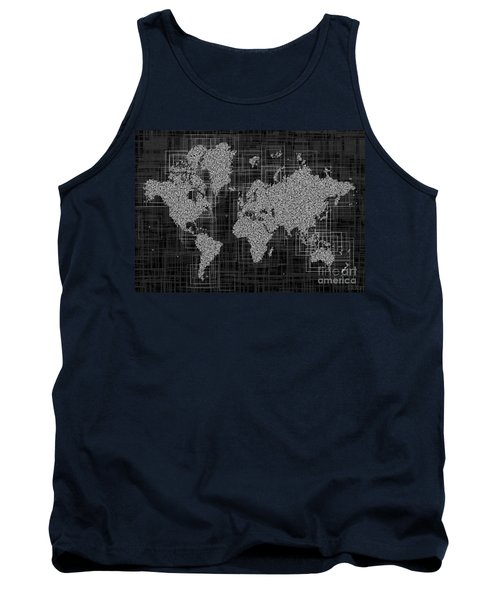 World Map Rettangoli In Black And White Tank Top by Eleven Corners